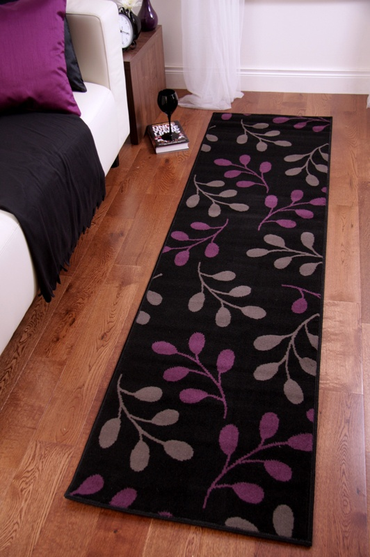 Superb Black Purple Grey Long Hall Runner Rug Quality Carpet Mats