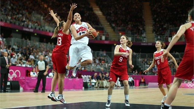 USA take on Turkey. Diana Taurasi of USA lays up in the women's Basketball preliminary round match between the USA and Turkey on Day 5 of the London 2012 Olympic Games at the Basketball Arena.