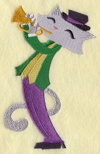 Machine Embroidery Designs at Embroidery Library! - Jazz Cat on Trumpet