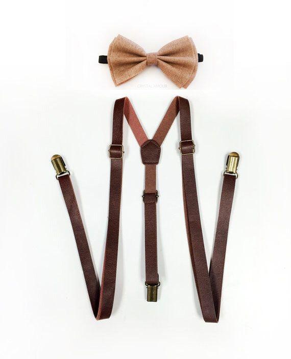Brown Suspenders, Tan Bowtie, Tan bow tie, brown leather suspenders, tan bowtie set, Men's Suspenders, Barnyard Wedding, Groomsmen by crystalAmour on Etsy https://www.etsy.com/listing/226230782/brown-suspenders-tan-bowtie-tan-bow-tie