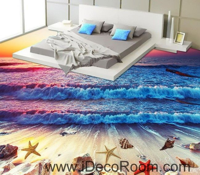 Sunrise Beach Wave Shells 00017 Floor Decals 3D Wallpaper Wall Mural Stickers Print Art Bathroom Decor Living Room Kitchen Waterproof Business Home Office Gift