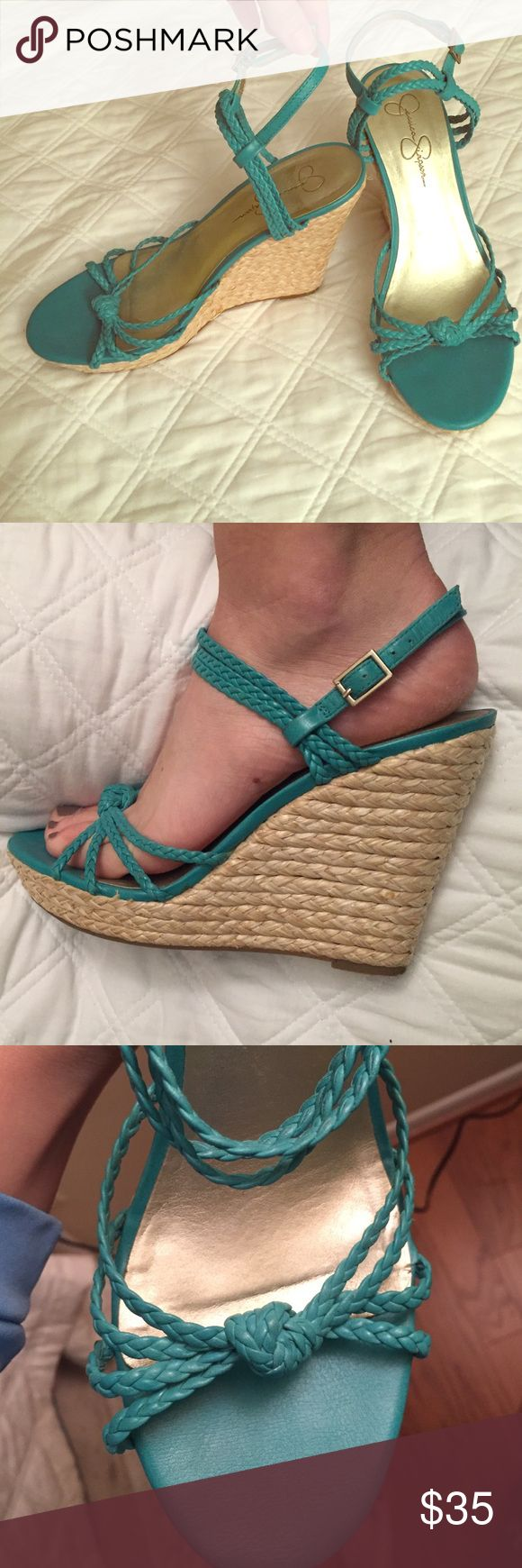 Beautiful Jessica Simpson turquoise wedges sz. 8 Great condition- hardly worn! Very pretty braided pattern. Beautiful turquoise color! Adjustable ankle strap. Size 8 Jessica Simpson Shoes Wedges