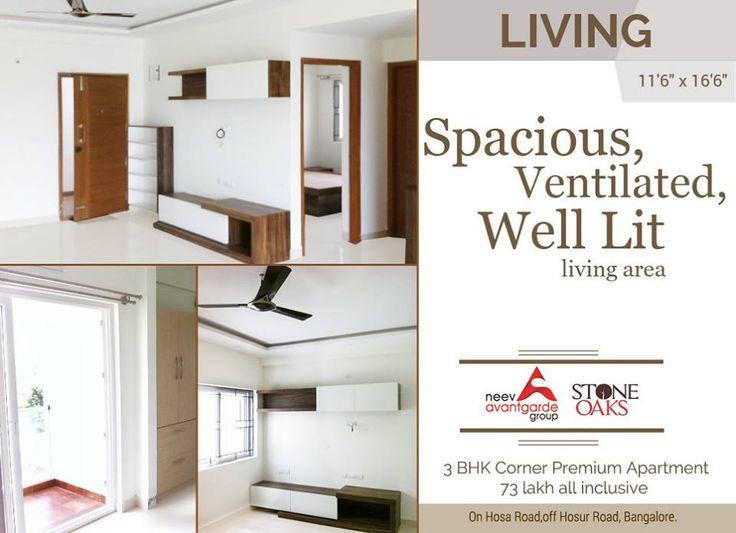 Spacious Ventilated,Well Lit Living area #stoneoaks #neevavantgarde #livingarea #luxuryapartments #hosaroad
