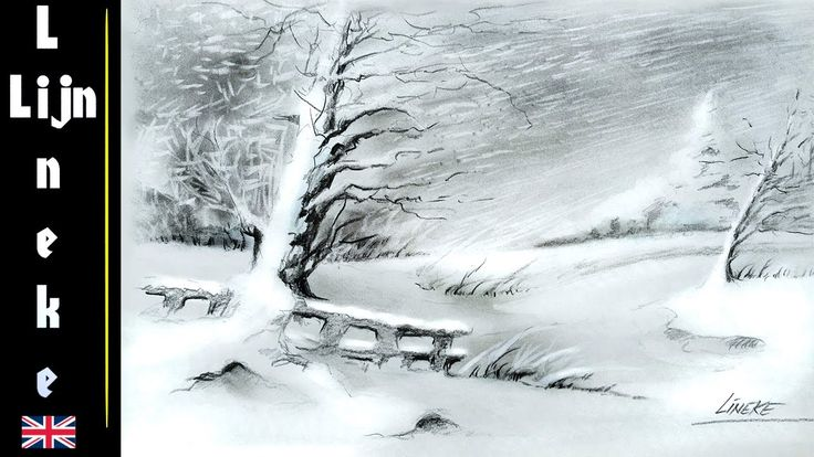 How to draw a Snow Landscape in charcoal