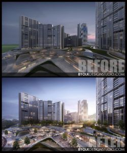 3d Post Production Rendering Mixed Used Development 3d Architectural Visualization Rendering