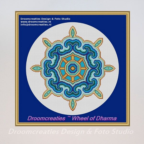 X-stitch pattern mandala Wheel of Dharma - digital crossstitch embroidery pattern pdf - 156 x 155 crossstitches - 28,5 x 28,5 cm - 11 x 11 inches  This digital product contains a pdf-file in englisch with: - 6 sheets A4 with counted cross stitches in colour symbols - a front page with the pattern - a symbol chart with colour numbers - a chart of the thread length you need - a sheet with instructions.  156 x 155 cross stitches 11 x 11 inches 28,5 x 28,5 cm 11 DMC colours  Please notice that…