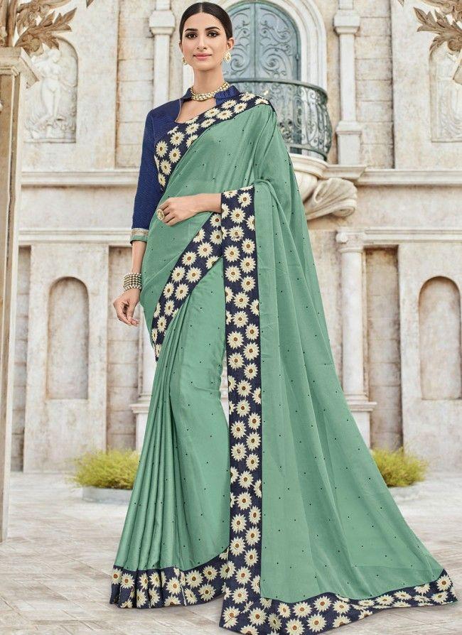 520ea857d0 Prime Green Festival Saree in 2019   saree   Party wear sarees ...