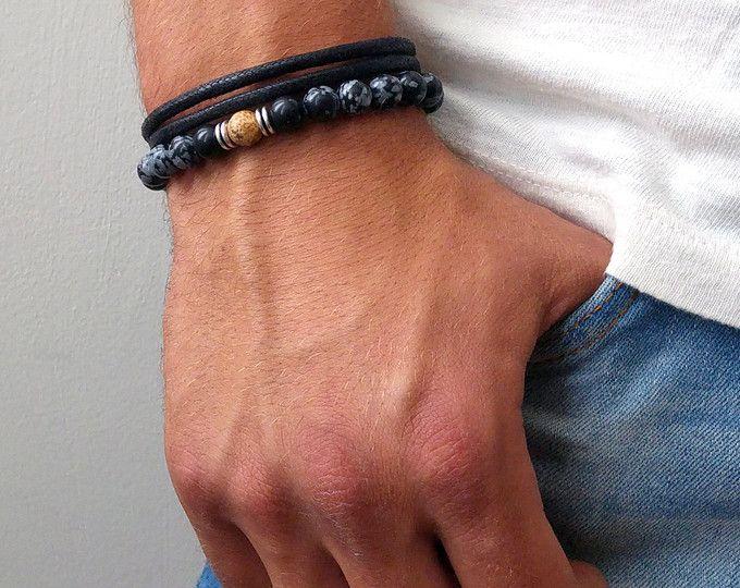 Conjunto para hombre - hombres cuentas pulseras Set - Mens negro Beaded Pulsera - hombre pulsera - pulsera de apilamiento - pulseras de piedras preciosas