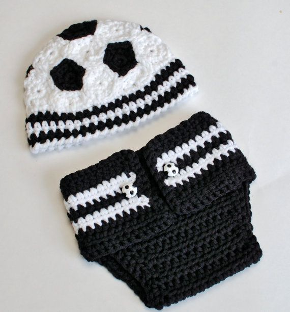 Immediate Download - Newborn Soccer Hat and Diaper Cover Crochet Pattern - Great Photo Prop via Etsy