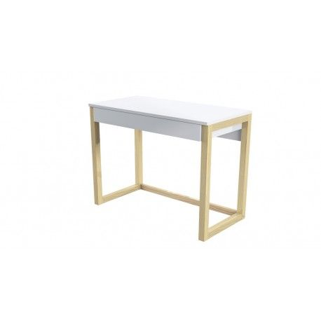 Desk with 1 drawer under working top. Melamine board (white) + pine legs.