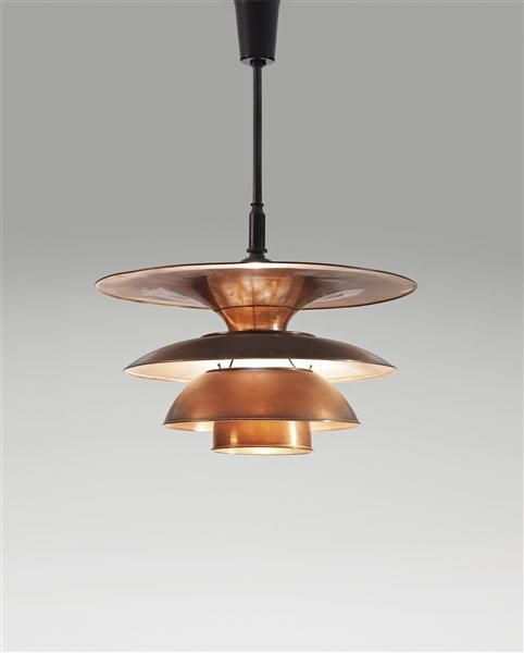 Poul Henningsen, Copper and Brass Type 4 Ceiling Light for Louis poulsen, c1931.