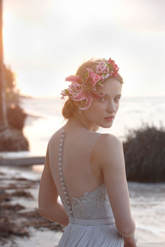 love the back of this dress! soft cloud-grey gown - vivienne gown from bhldn summer wedding collection