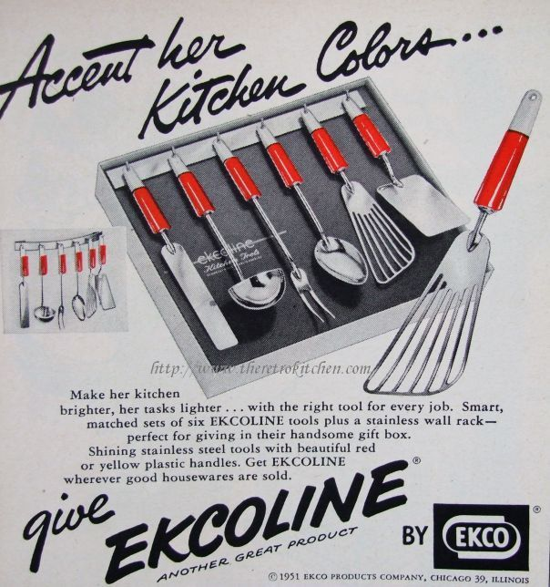 Ekcoline red accent ad: Time, Yesterday Kitchens, Red Kitchens, Red Accent, Retro Kitchens, Kitschy Kitchens