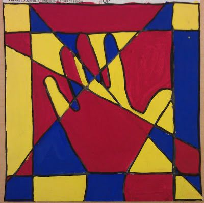 4th grade Students identified the three primary colors (red, yellow, blue) and made painting with them. They used a ruler to make a border around the paper. Next, they traced their hand and drew t…