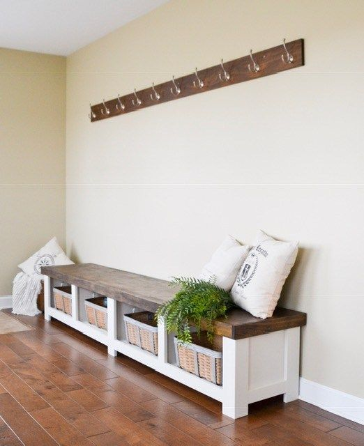 Gorgeous Diy 8 Foot Mudroom Bench With Tons Of Storage Space Come