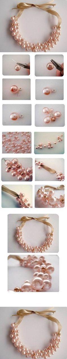 DIY Elegant Pearl Cluster Necklace | iCreativeIdeas.com LIKE Us on Facebook ==> https://www.facebook.com/icreativeideas