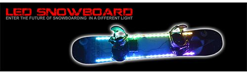 LED Snowboard Kit. - Air touch and motion controlled LED light system for snowboard.  Developed by D3LLC,U.S.A Available from: www.skyliteshop.com