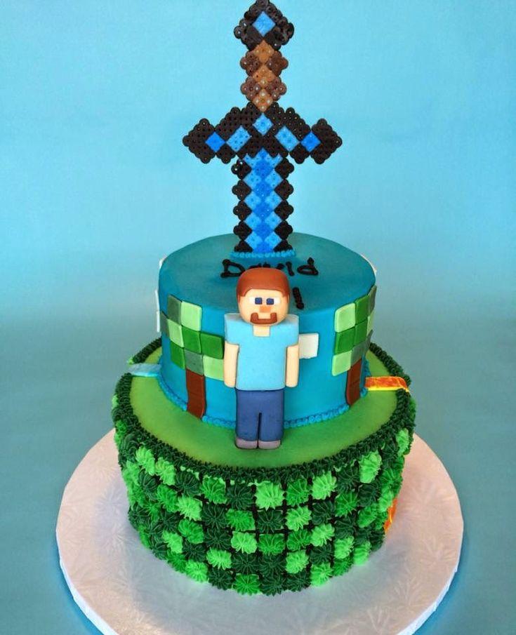Birthday Party Game Ideas: Minecraft Birthday Cake With Diamond Sword And Steve