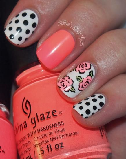 Mix feminine prints, like flowers and polka dots, for an ultra girly manicure perfect for a summer wedding. To avoid looking overdone, paint...