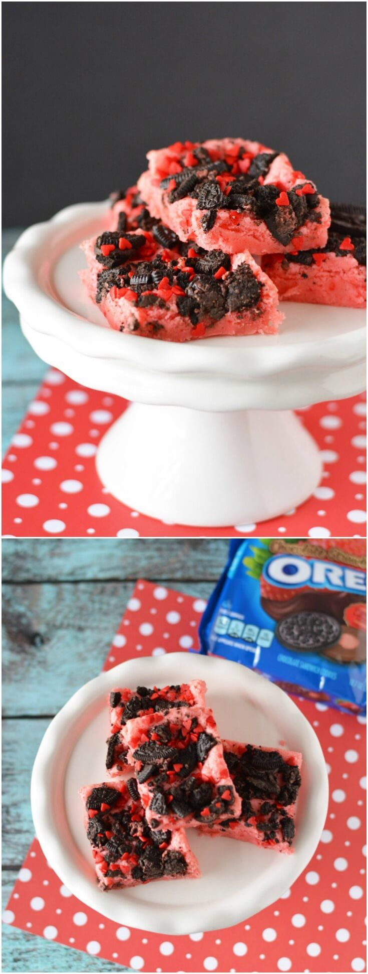 These delicious chocolate strawberry Oreo brownies are so easy to make! Moist with a crunchy topping and sprinkles - perfect for Valentine's Day! via @diy_candy
