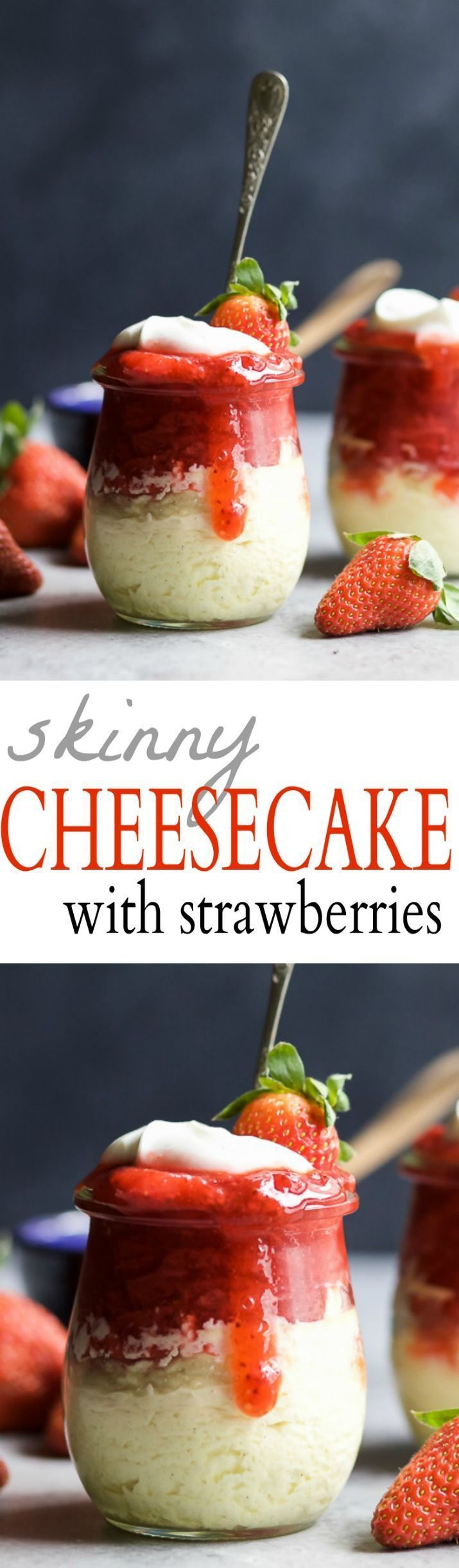 SKINNY CHEESECAKE for two made with greek yogurt and topped with fresh strawberries slightly sweetened with honey. The perfect healthy sweet dessert for those late night cravings!   http://joyfulhealthyeats.com