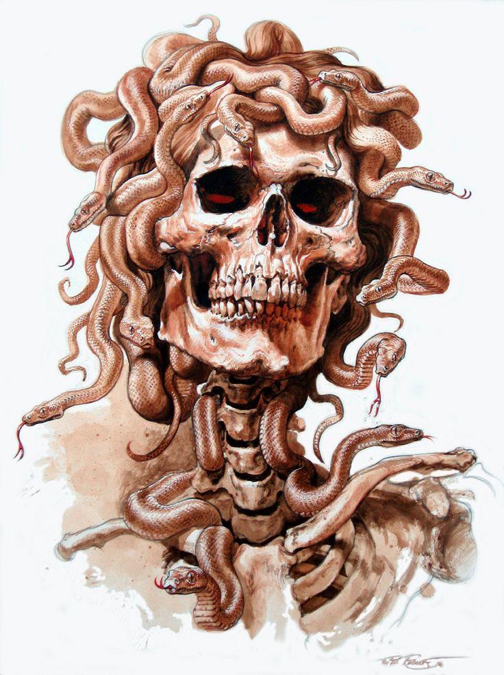 billabong art - Medusa Snake Skull Tee shirt design by Phil Roberts