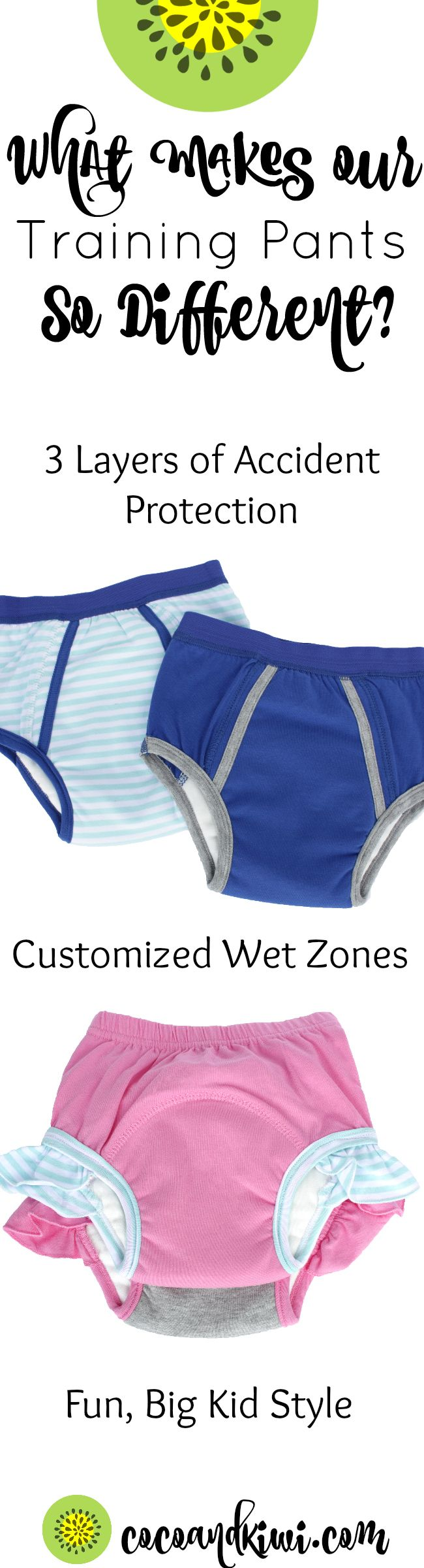 Getting ready to Potty Train? With so many trainers out there, what makes ours any different. With amazing absorbency and a style that kids can get excited about Coco + Kiwi Toddler Underwear will be your go to. We offer great products to simplify your messy life. Messy Baby, Happy Mom.