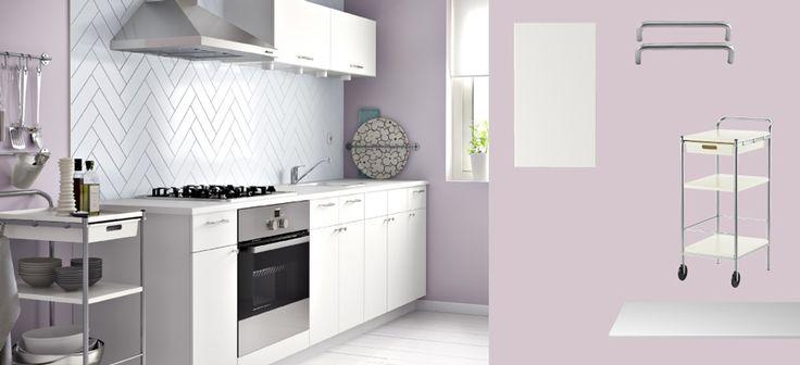 AKURUM kitchen with HÄRLIG white doors\/drawers, FYNDIG white - fyndig k che ikea