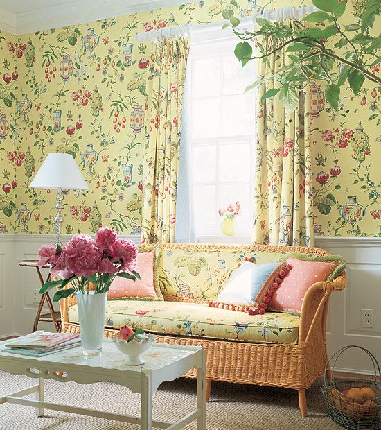 :Cheerful Floral Wallpaper Ideas With Modern White Table Lamp Shades And White Clean Coffee Table Design