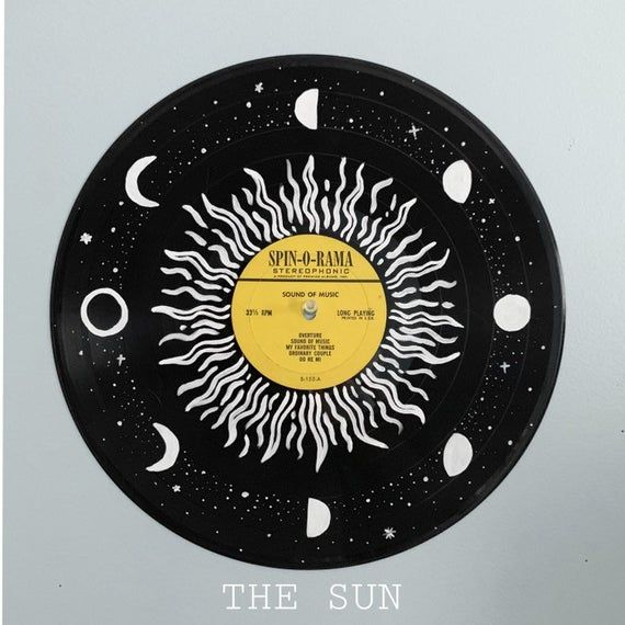 Hand Painted Records The Starman Collection Choose From The Sun Or The Sky Hand Painted Acrylic Paint Record Wall Art Vinyl Art Paint Vinyl Record Art