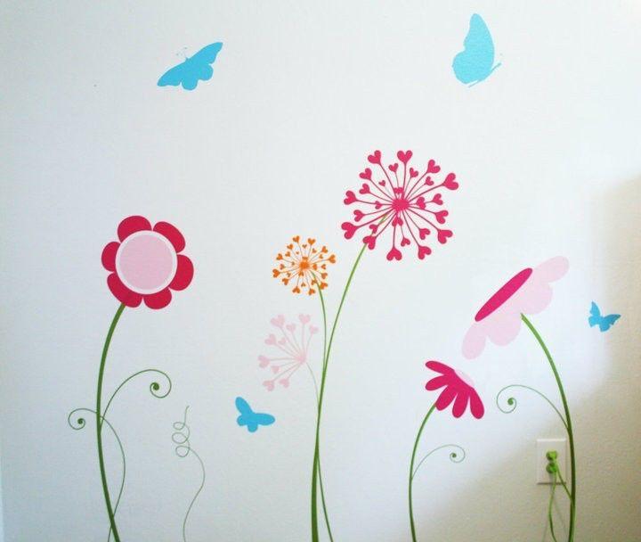 garden wall decal / flower wall decals, butterfly flower wall decals