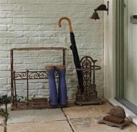 Cast Iron Boot Rack and Rustic Umbrella Stand