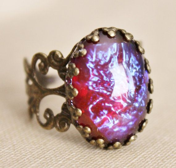 Vintage Dragons Breath Opal RingMexican by hangingbyathread1