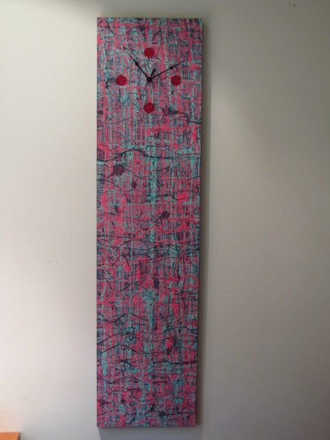 1200x300  Abstract painting with clock