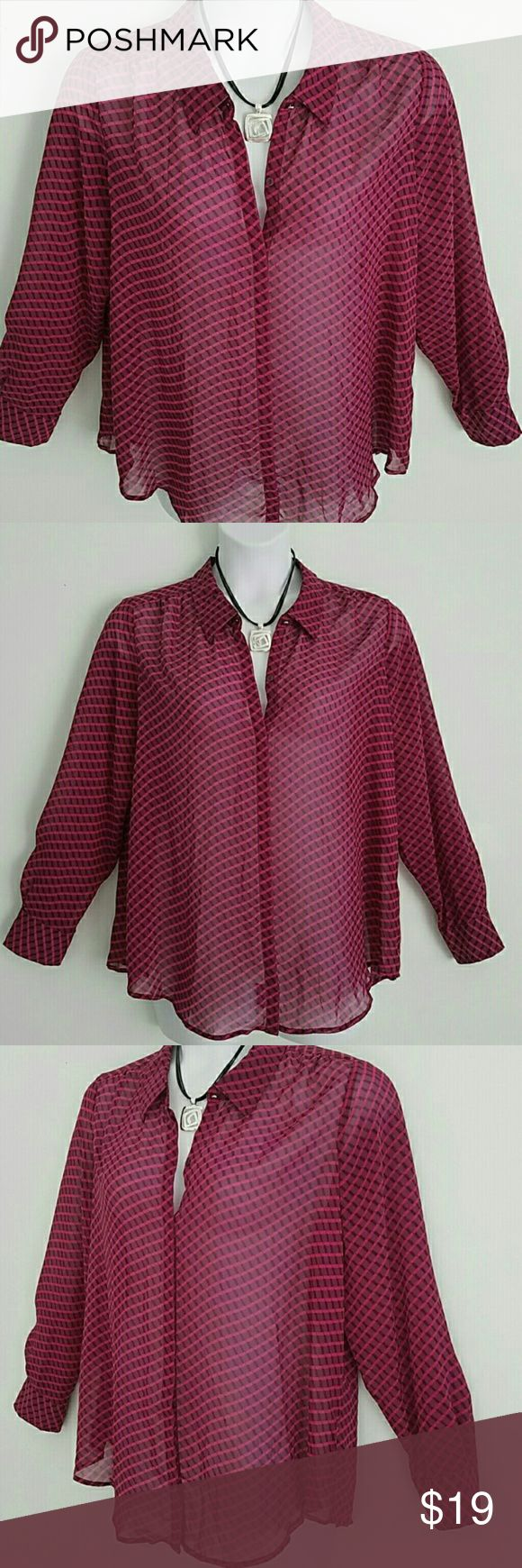 "Liz Claiborne Plus Size Purpley Pink Blouse Bust 24"" Waist 24"" Length 27""  I love this top! Plus size shear and elegant top from Liz Claiborne. Purple and hot pink color combination Shear Style Button Down with decorative top button. 100% Polyester Machine Washable Excellent condition, no issues.  Please let me know if you have any questions. Thank you for looking!  Xoxoxoxo Liz Claiborne Tops Blouses"