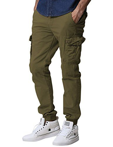 Match Men's Regular Fit Chino Jogger Cargo Pant (38W x 33L 6539 Army green)