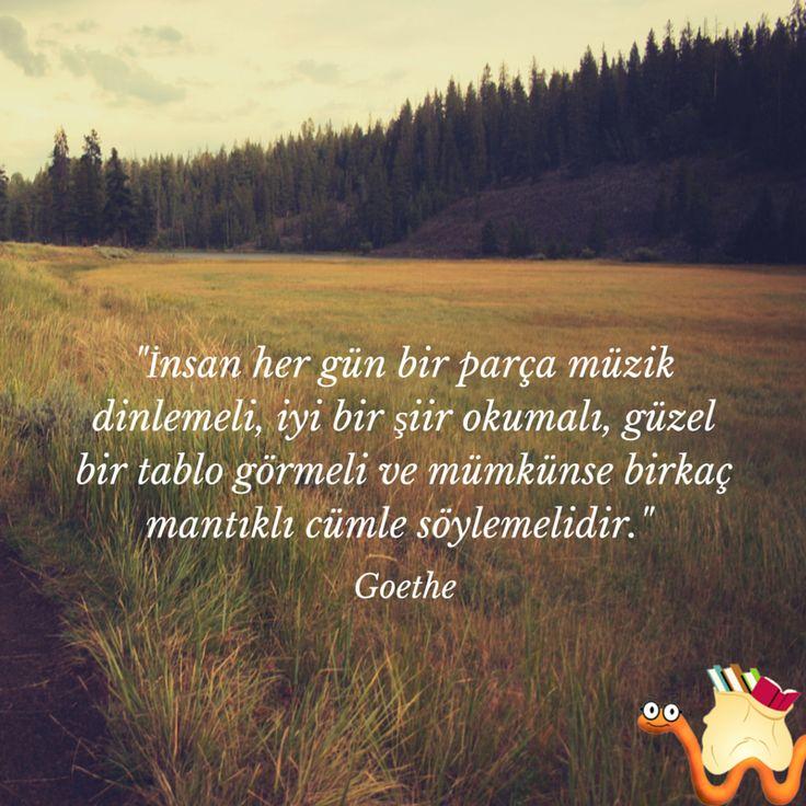 İyi hafta sonları... :)  İnsanher gün bir parça müzik dinlemeli, iyi bir şiir okumalı, güzel bir tablo görmeli ve mümkünse birkaç mantıklı cümle söylemelidir. Goethe