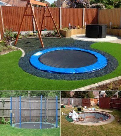 A sunken trampoline is safer for kids and looks really cool Idea to have in your garden! Just dig out a hole in your garden and set up the trampoline.