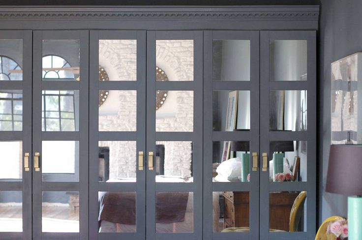 Mirror the doors. The Bergsbo-style doors are one of the least-expensive Pax options. And if you choose this model, you can use the money you've saved to have mirrors cut to fit by a glass shop. They can be safely secured to the doors with mirror glue.