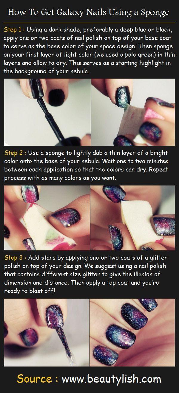 Galaxy Nails Using a Sponge | Beauty Tutorials