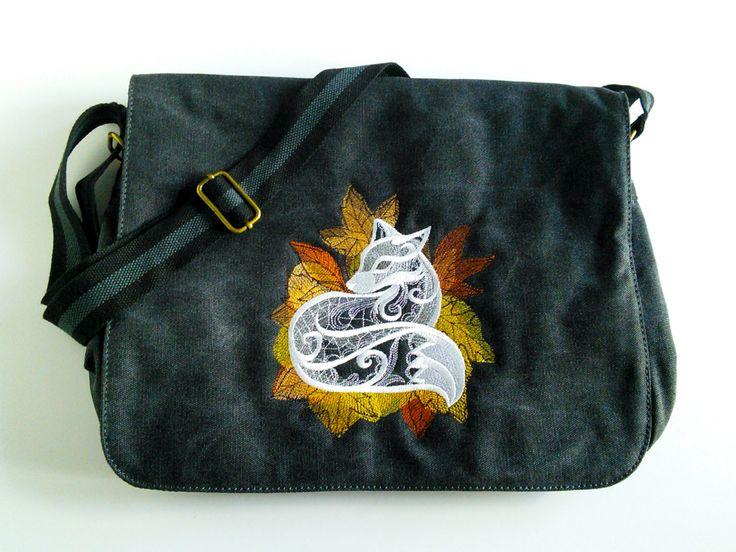 Black canvas messenger bag, despatch bag, college bag, fox bag, shoulder bag, cross body bag, back to school, work bag. by JaneAtNumber13 on Etsy