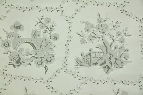 Tappezzeria Vintage 1950  sfondo scenico con di HannahsTreasures