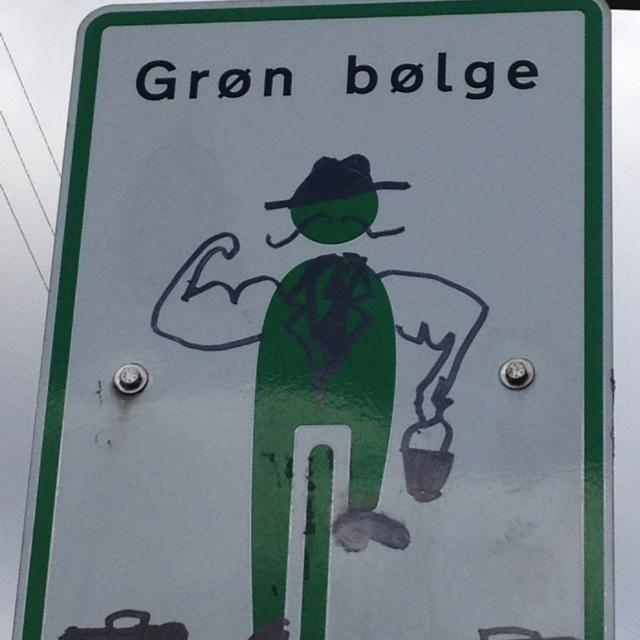 Grøn mand med moustache