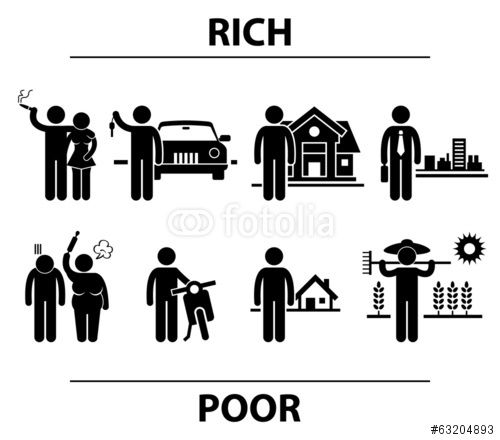 Vektor: Rich and Poor Man Financial Differences Concept