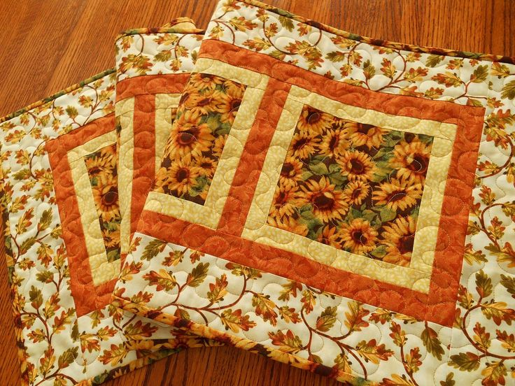 Fall Quilted Table Runner, Sunflowers And Leaves, Rust Gold And Brown,  Autumn Leaves