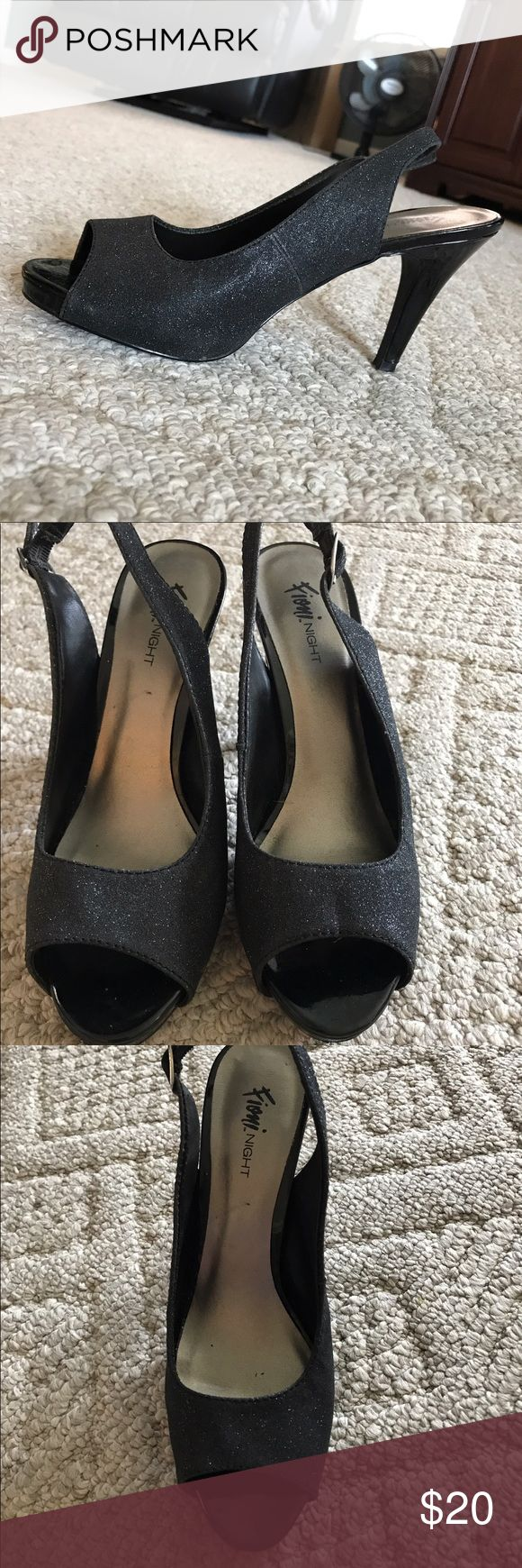 Black sparkle heels Black heels with a little sparkle. Adjustable strap in back. Perfect for prom or homecoming. Worn once. Fioni Night  Shoes Heels