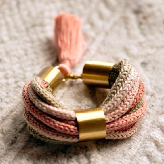 Braided bracelet Multicolor fiber Brass fringe, rope bracelet
