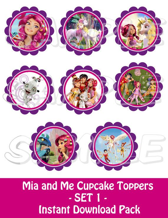 MIA AND ME PARTY Mia and Me Cupcake Toppers Set 1 PRINTABLE by JustAddFrosting, $4.00