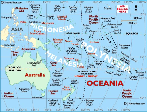 Australia Map, Map of Oceania, South Pacific Map, New Zealand Map