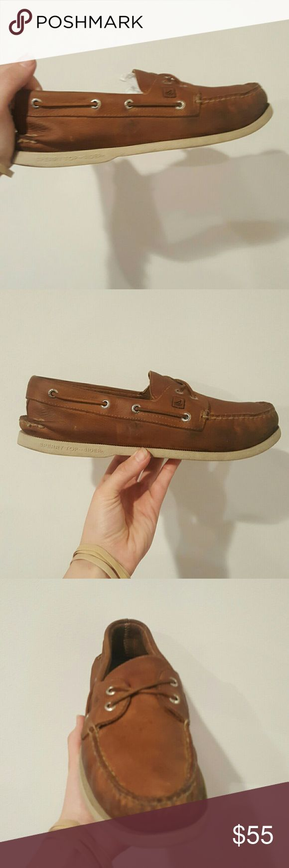 SPERRY MENS 10.5 SLIP ON BOAT SHOE SPERRY Topsider MENS 10.5 BROWN LEATHER BOAT SHOES SLIP ON STYLE NO LACES GOOD USED CONDITION LOTS OF LIFE LEFT Sperry Shoes Boat Shoes